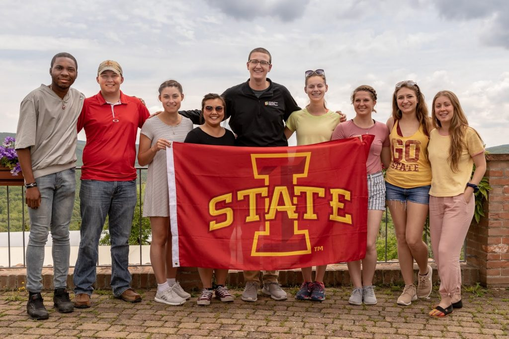 Iowa State Students with school flag